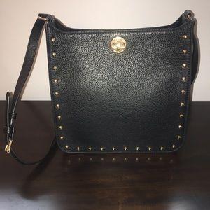 Michael Kors Studded Black Leather Crossbody Bag